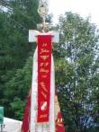 Die neu renovierte Fahne der Feuerwehren von Oberlienz
